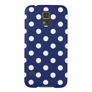 Navy Blue and White Polka Dot Pattern Galaxy S5 Case