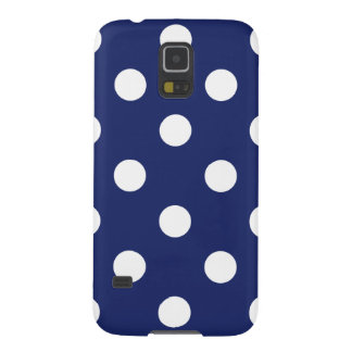 Navy Blue and White Polka Dot Pattern Galaxy S5 Cases