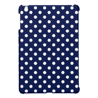 Navy Blue and White Polka Dot Pattern iPad Mini Cases