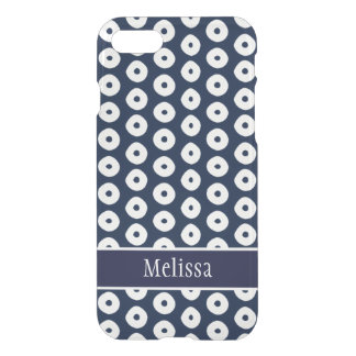 Navy Blue And White Polka Dot Pattern iPhone 7 Case