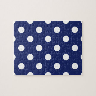 Navy Blue and White Polka Dot Pattern Jigsaw Puzzle