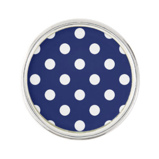 Navy Blue and White Polka Dot Pattern Lapel Pin
