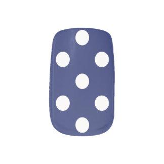 Navy Blue and White Polka Dot Pattern Minx Nail Art