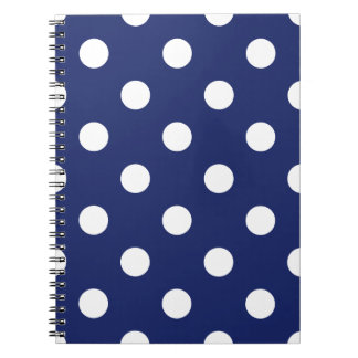 Navy Blue and White Polka Dot Pattern Notebook