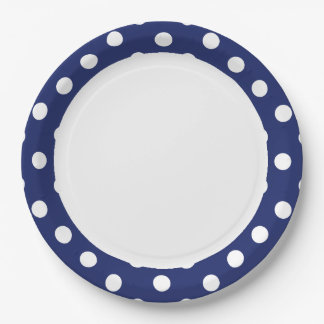 Navy Blue and White Polka Dot Pattern Paper Plate
