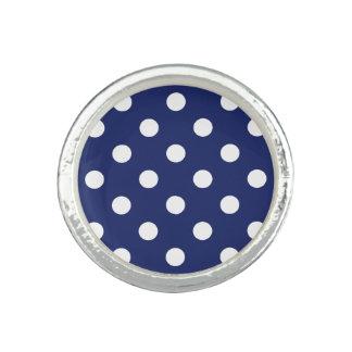 Navy Blue and White Polka Dot Pattern Photo Rings