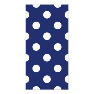 Navy Blue and White Polka Dot Pattern Picture Card