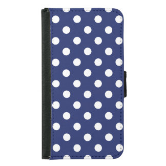 Navy Blue and White Polka Dot Pattern Samsung Galaxy S5 Wallet Case