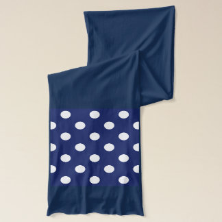Navy Blue and White Polka Dot Pattern Scarf