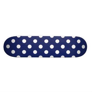 Navy Blue and White Polka Dot Pattern Skate Board