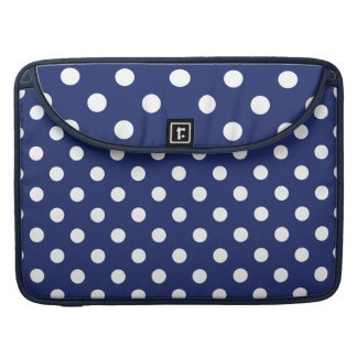 Navy Blue and White Polka Dot Pattern Sleeves For MacBook Pro