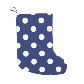 Navy Blue and White Polka Dot Pattern Small Christmas Stocking