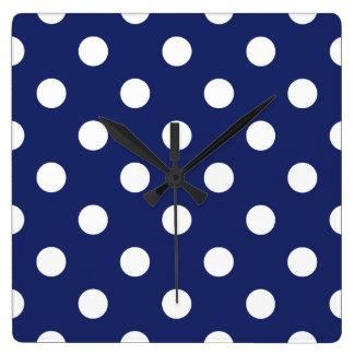 Navy Blue and White Polka Dot Pattern Wall Clocks