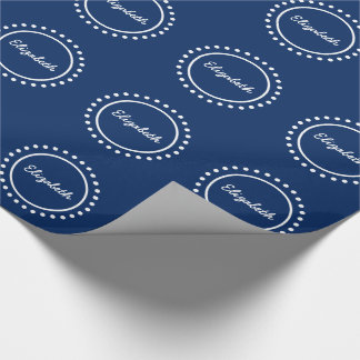 Navy Blue and White Polka Dot Personalized