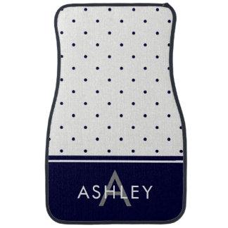 Navy Blue and White Polka Dots Car Carpet