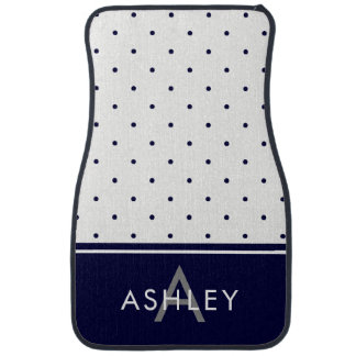 Navy Blue and White Polka Dots Car Mat
