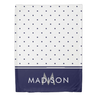 Navy Blue and White Polka Dots Duvet Cover