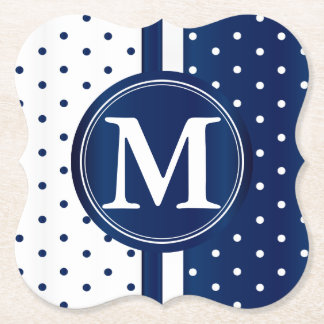 Navy Blue and White Polka Dots - Monogram Paper Coaster