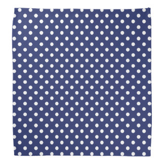 Navy Blue and White Polka Dots Pattern Bandana