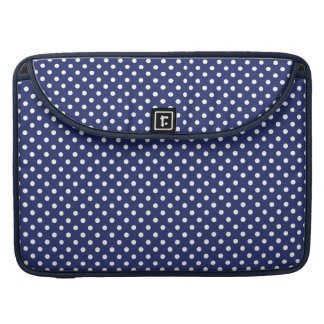 Navy Blue and White Polka Dots Pattern MacBook Pro Sleeve