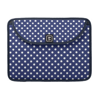 Navy Blue and White Polka Dots Pattern MacBook Pro Sleeves