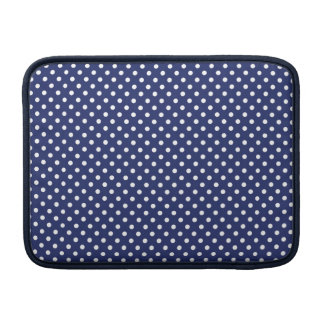 Navy Blue and White Polka Dots Pattern MacBook Sleeve
