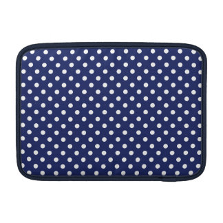Navy Blue and White Polka Dots Pattern MacBook Sleeves