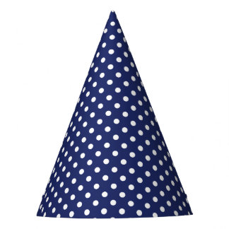 Navy Blue and White Polka Dots Pattern Party Hat