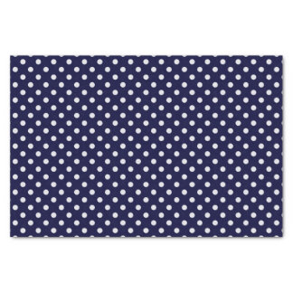 Navy Blue and White Polka Dots Pattern Tissue Paper