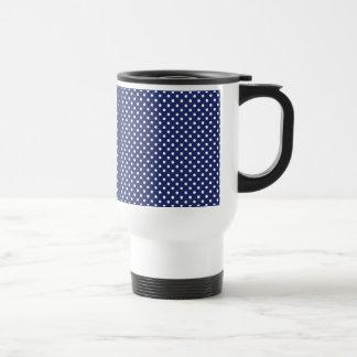 Navy Blue and White Polka Dots Pattern Travel Mug