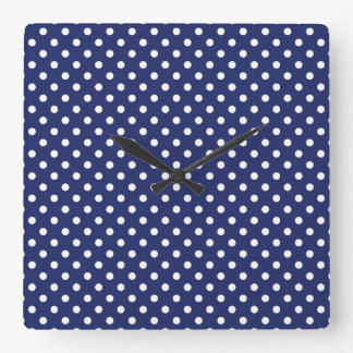 Navy Blue and White Polka Dots Pattern Wall Clocks