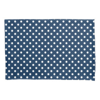 Navy blue and white polka dots pillowcase cover
