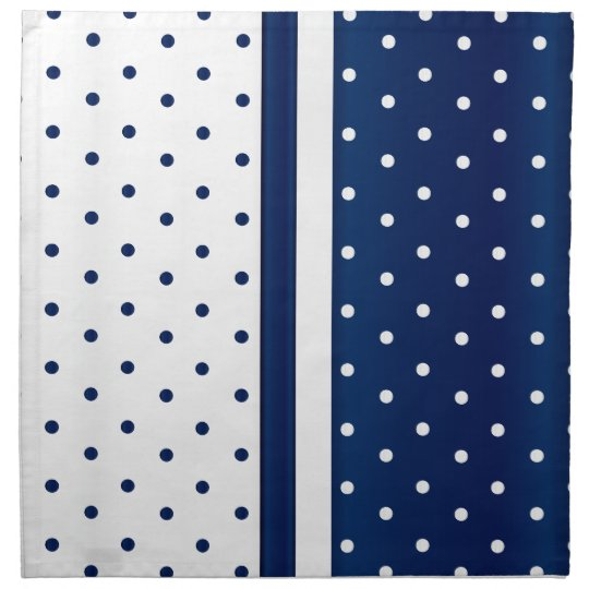 Navy Blue and White Polka Dots Printed Napkin