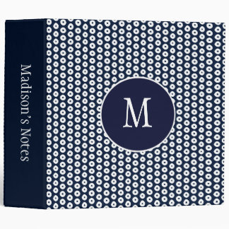 Navy Blue and White Polka Dots School 3 Ring Binder