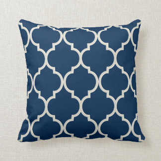 Navy Blue and White Quatrefoil Pattern | DIY Color Throw Pillow