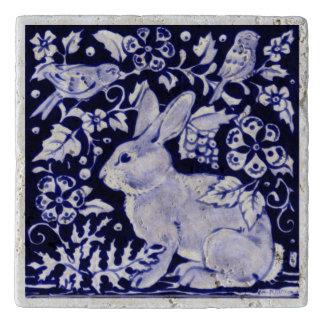 Navy Blue and White Rabbit Bird Stone Tile Trivet