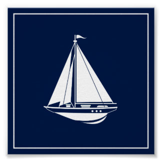 Navy Blue and White Sailing Boat Poster