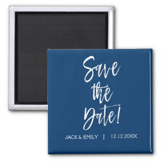 Navy Blue and White  Save the Date Magnet