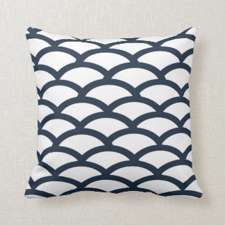 Navy Blue and White Scallop Pattern Pillow