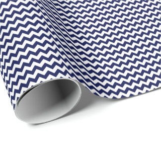 Navy Blue and White Small Chevron Wrapping Paper