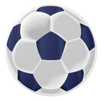 Navy Blue and White Soccer Ball / Football Ceramic Knob