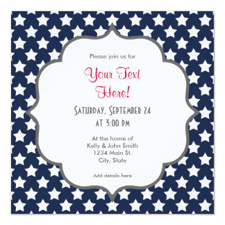 """Navy Blue and White Stars, Starry Pattern 5.25"""" Square Invitation Card"""