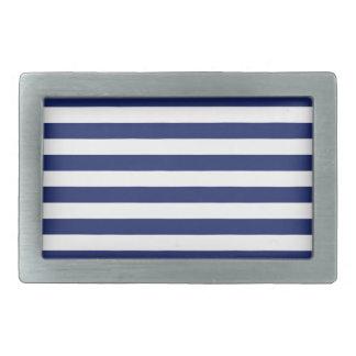 Navy Blue and White Stripe Pattern Belt Buckles