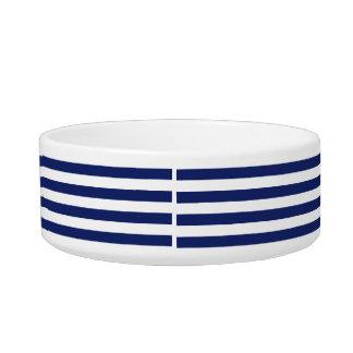 Navy Blue and White Stripe Pattern Bowl