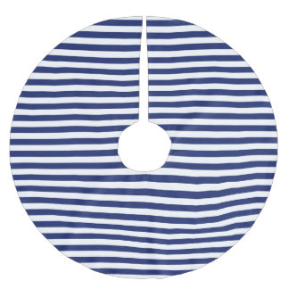 Navy Blue and White Stripe Pattern Brushed Polyester Tree Skirt
