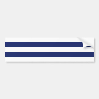 Navy Blue and White Stripe Pattern Bumper Sticker