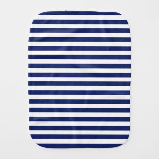 Navy Blue and White Stripe Pattern Burp Cloth