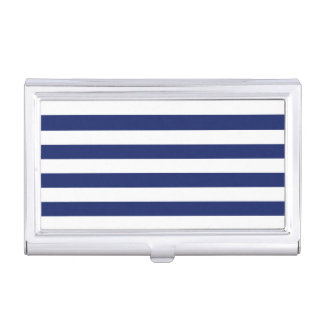Navy Blue and White Stripe Pattern Business Card Holder