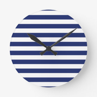 Navy Blue and White Stripe Pattern Clocks