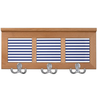 Navy Blue and White Stripe Pattern Coat Rack